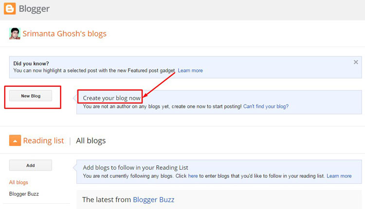 how to create a blog on google